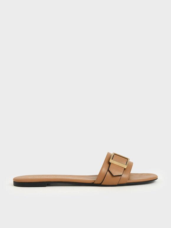 Frame Buckle Slide Sandals, Camel, hi-res