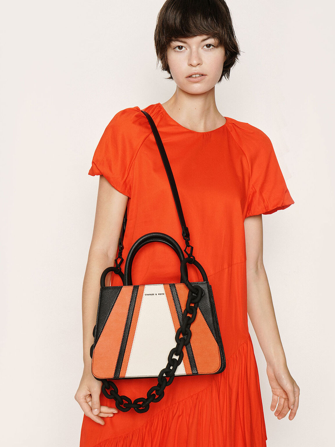 Chunky Chain Top Handle Structured Tote, Multi, hi-res