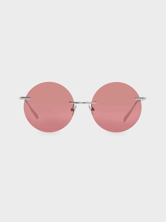 Round Rimless Sunglasses, Red, hi-res