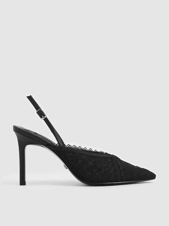 Floral Embroidered Mesh Slingback Pumps, Black, hi-res