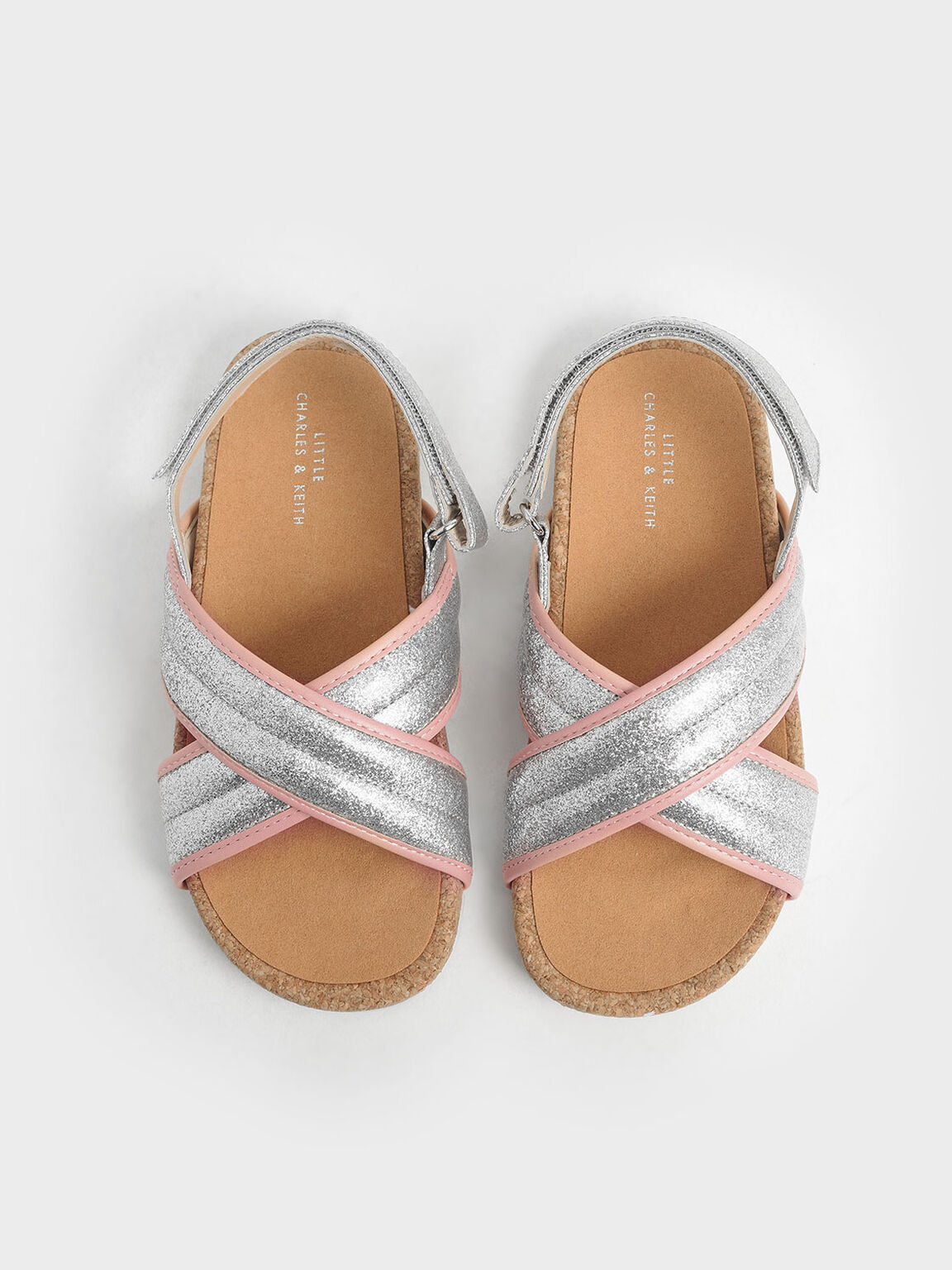 Girls' Glitter Criss Cross Sandals, Silver, hi-res