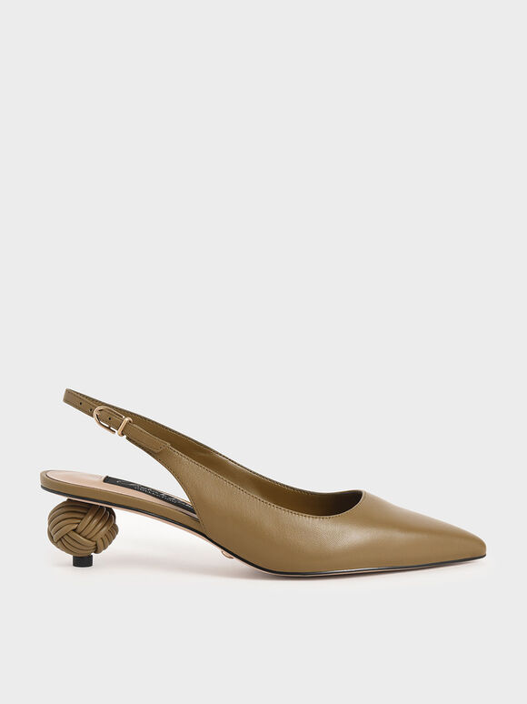 Leather Sculptural Heel Slingback Pumps, Military Green, hi-res
