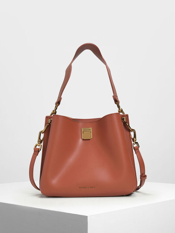 Buckle Shoulder Bag, Clay, hi-res