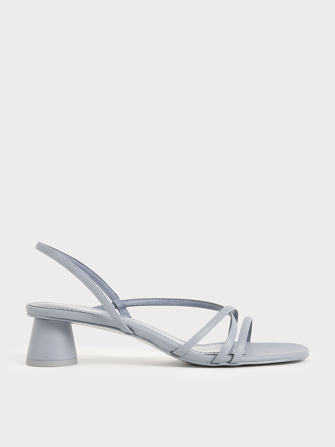 Strappy Cylindrical Heel Sandals, Light Blue, hi-res