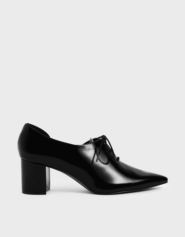 Black D'Orsay Oxford Block Heels