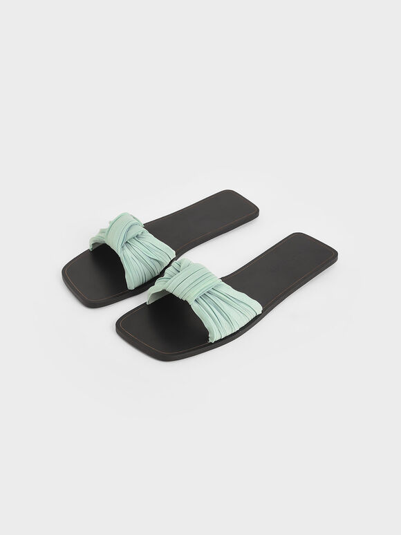 Pleated Fabric Knotted Slide Sandals, Mint Green, hi-res