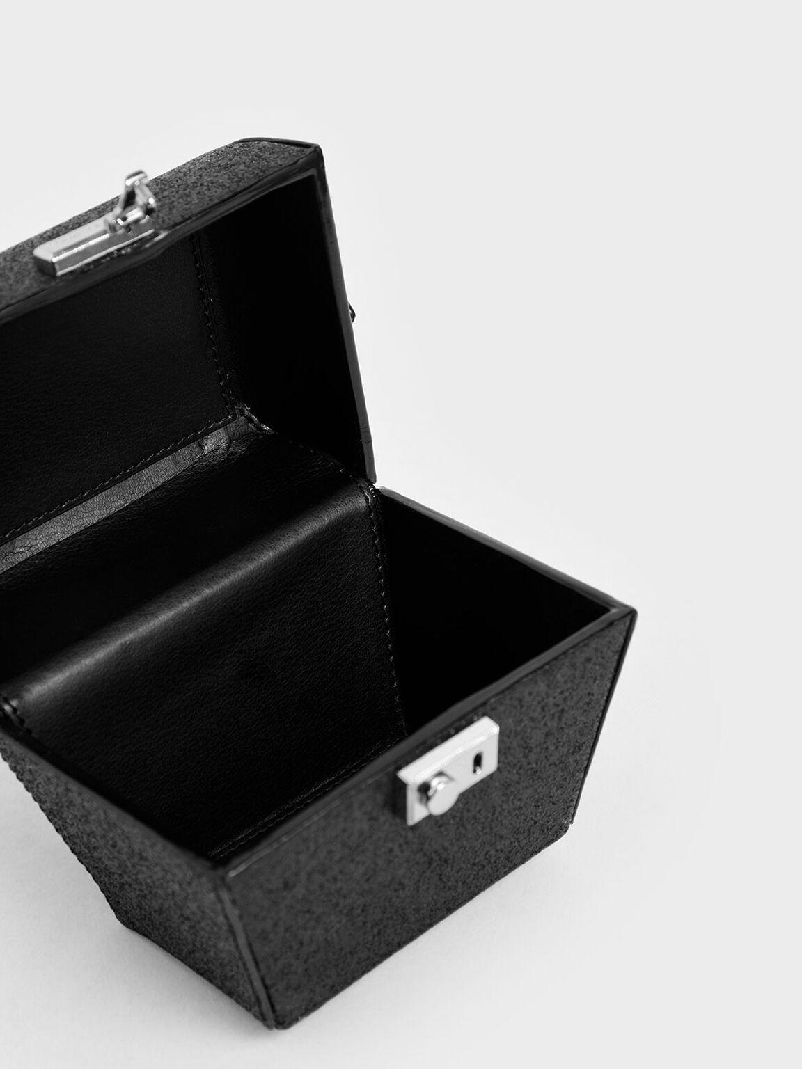 Glitter Mini Sculptural Top Handle Bag, Black Textured, hi-res