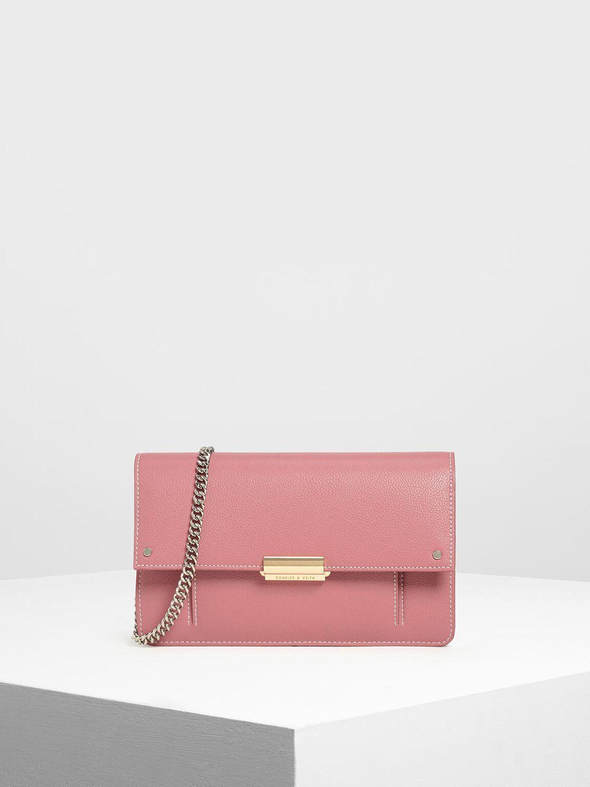 掀蓋鍊條長夾, 粉紅色, hi-res