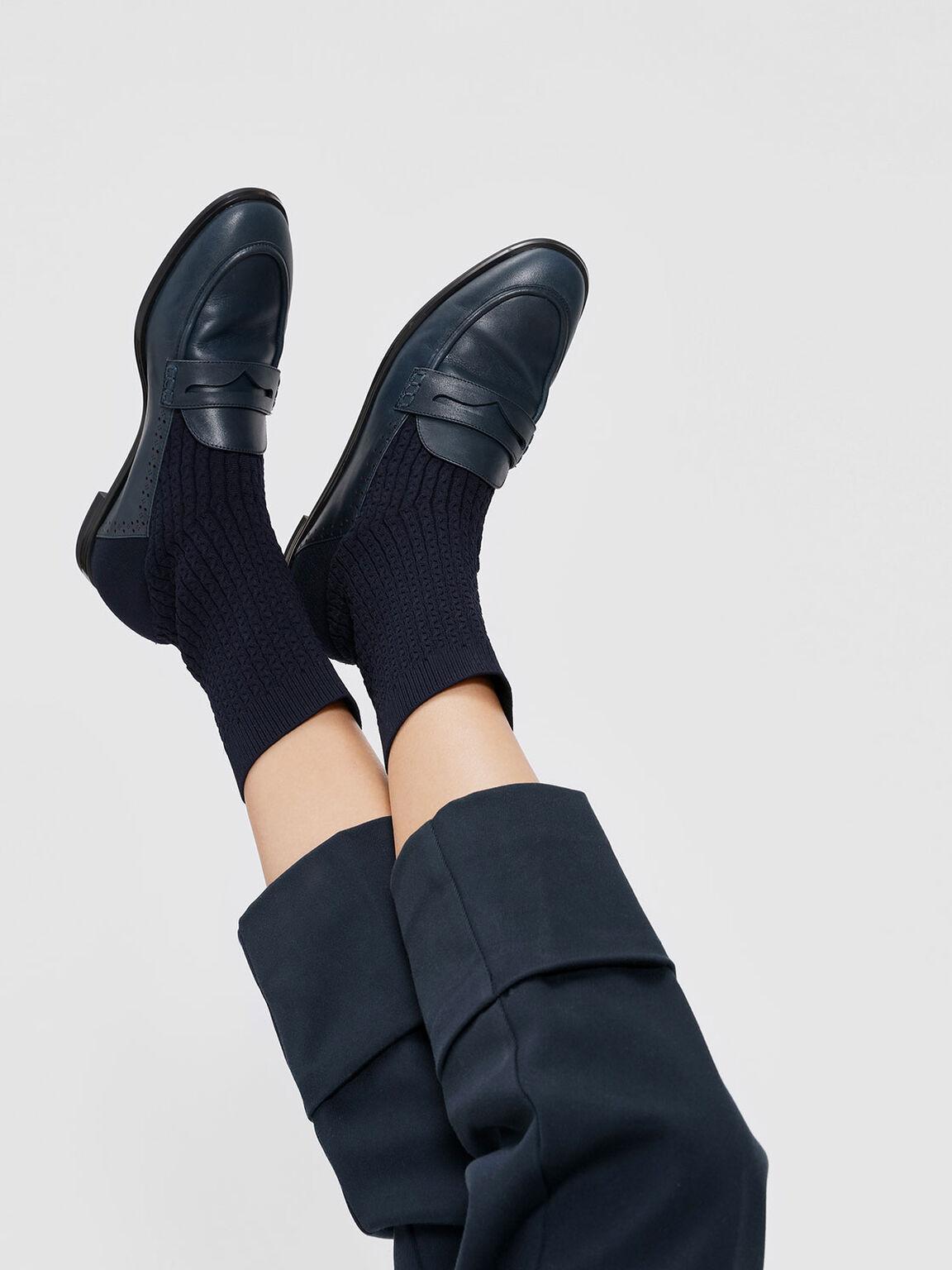 Leather Loafer Effect Sock Boots, Dark Blue, hi-res