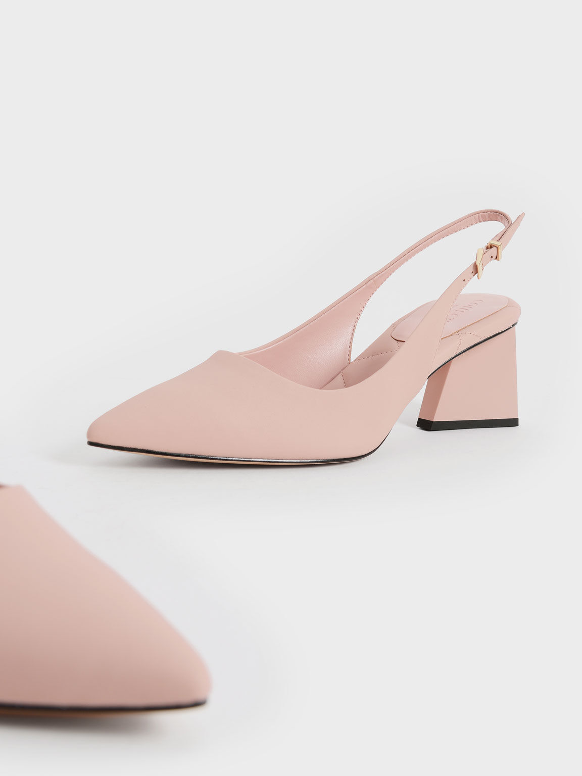 Leather Pointed Toe Slingback Pumps, Pink, hi-res