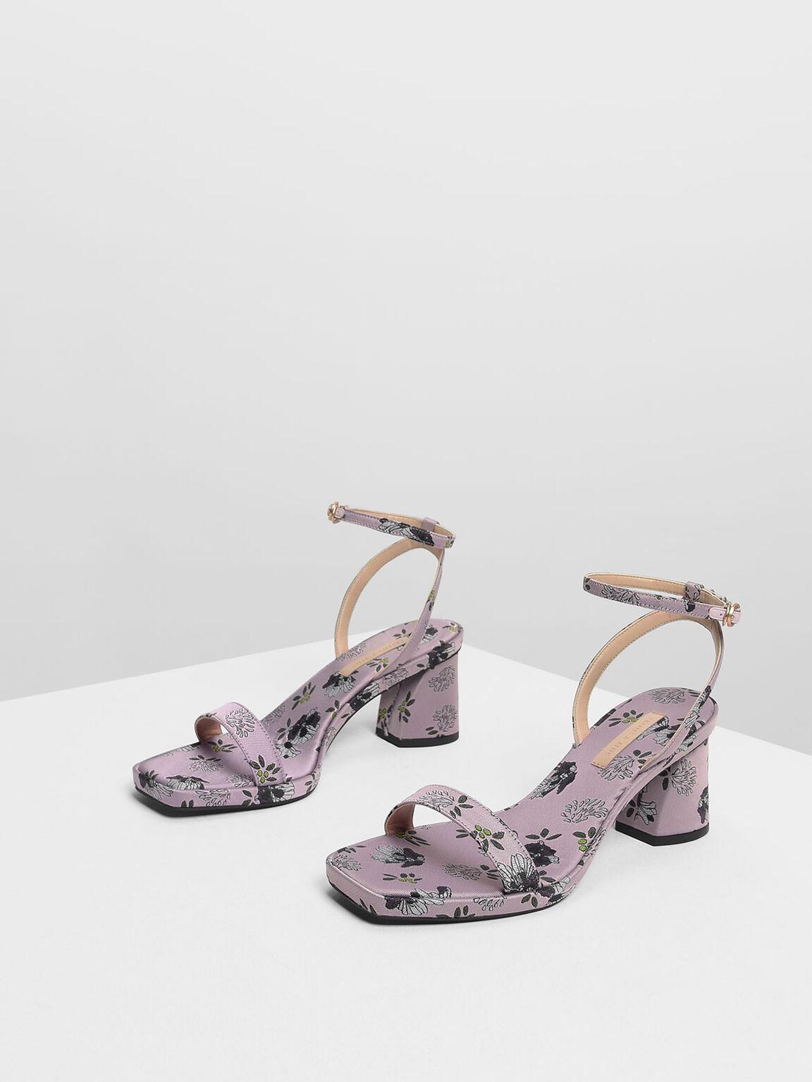 Ankle Strap Platform Sandals, Lilac, hi-res