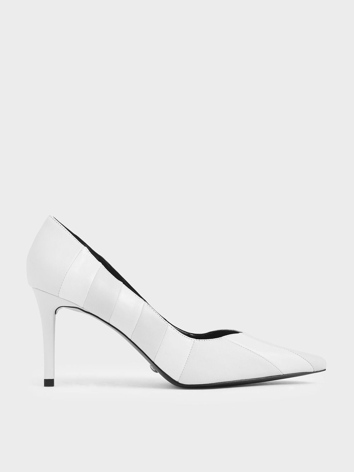 Leather Pointed Toe Pumps, White, hi-res