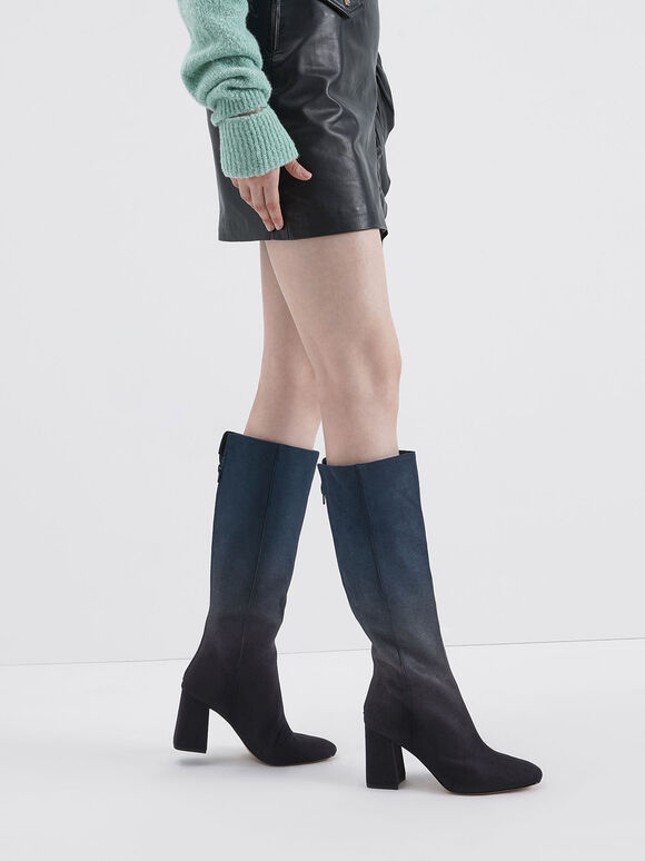 Multicoloured Felt Knee High Boots, Dark Blue, hi-res
