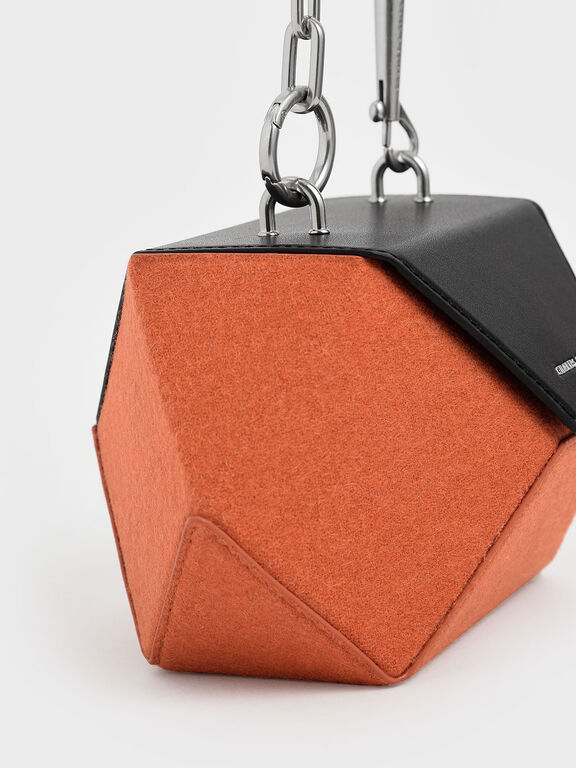 Two-Tone Demi Chain Handle Hexagon Bag, Orange