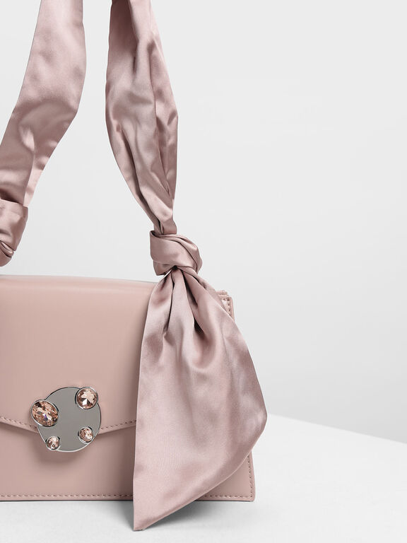 Ribbon Shoulder Bag, Nude