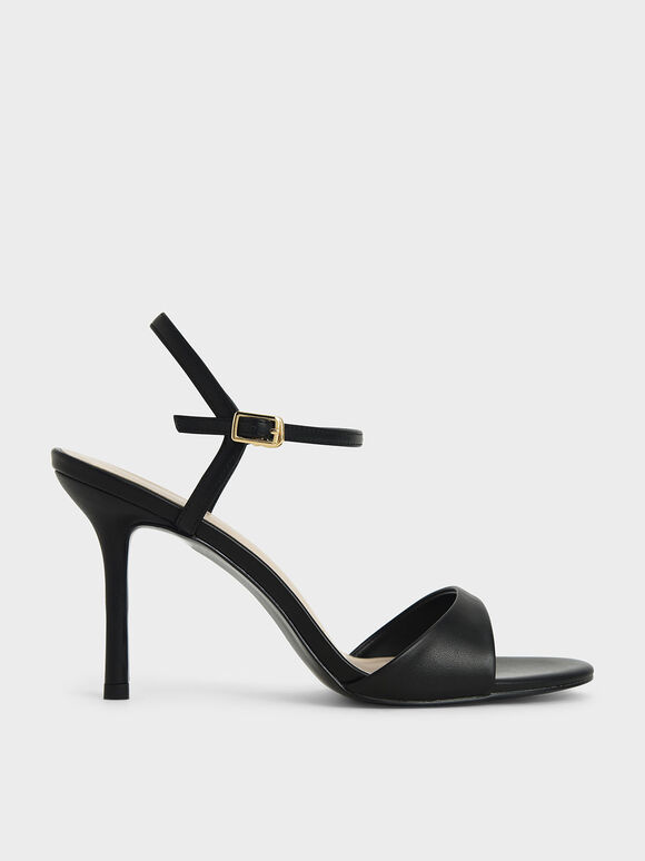 Ankle Strap Stiletto Sandals, Black, hi-res