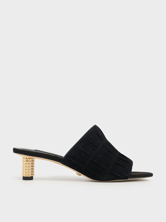 Embellished Heel Ruched Mules (Kid Suede), Black, hi-res