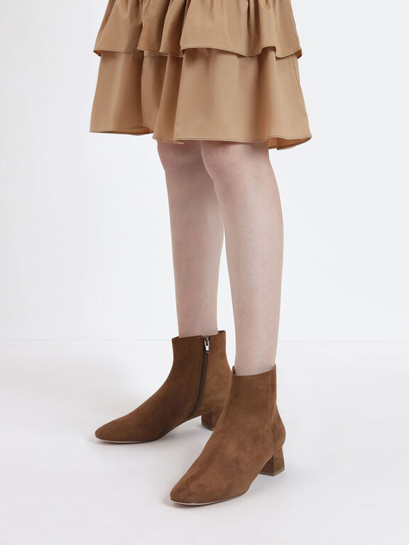 Textured Block Heel Ankle Boots, Beige
