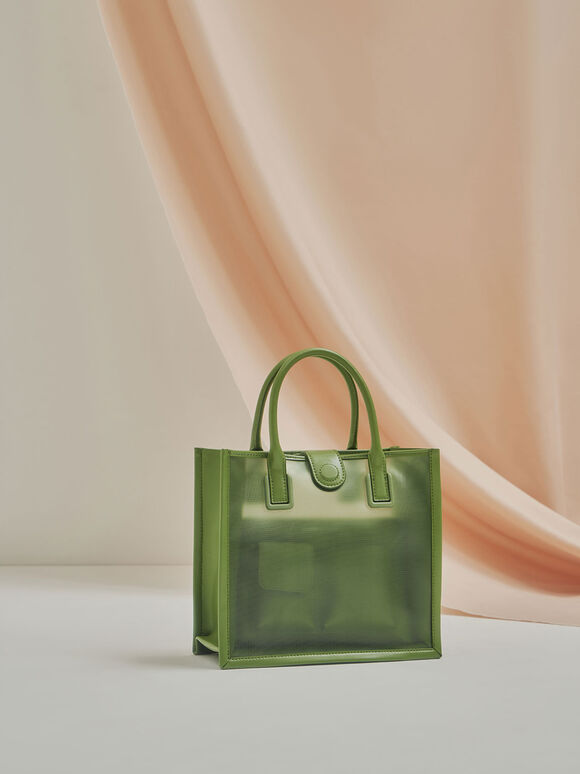 Mesh Double Handle Tote Bag, Green, hi-res