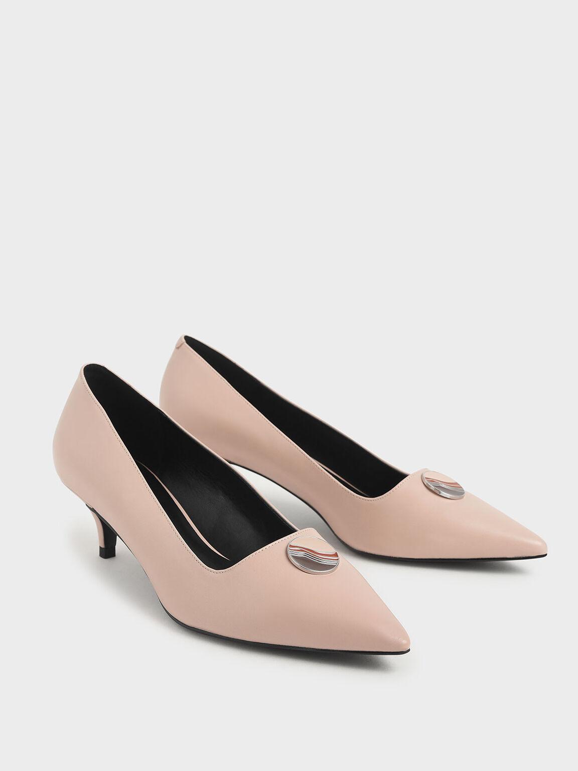 金屬扣低跟鞋, 膚色, hi-res