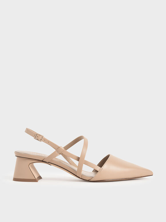 Strappy Trapeze Heel Court Shoes, Beige, hi-res