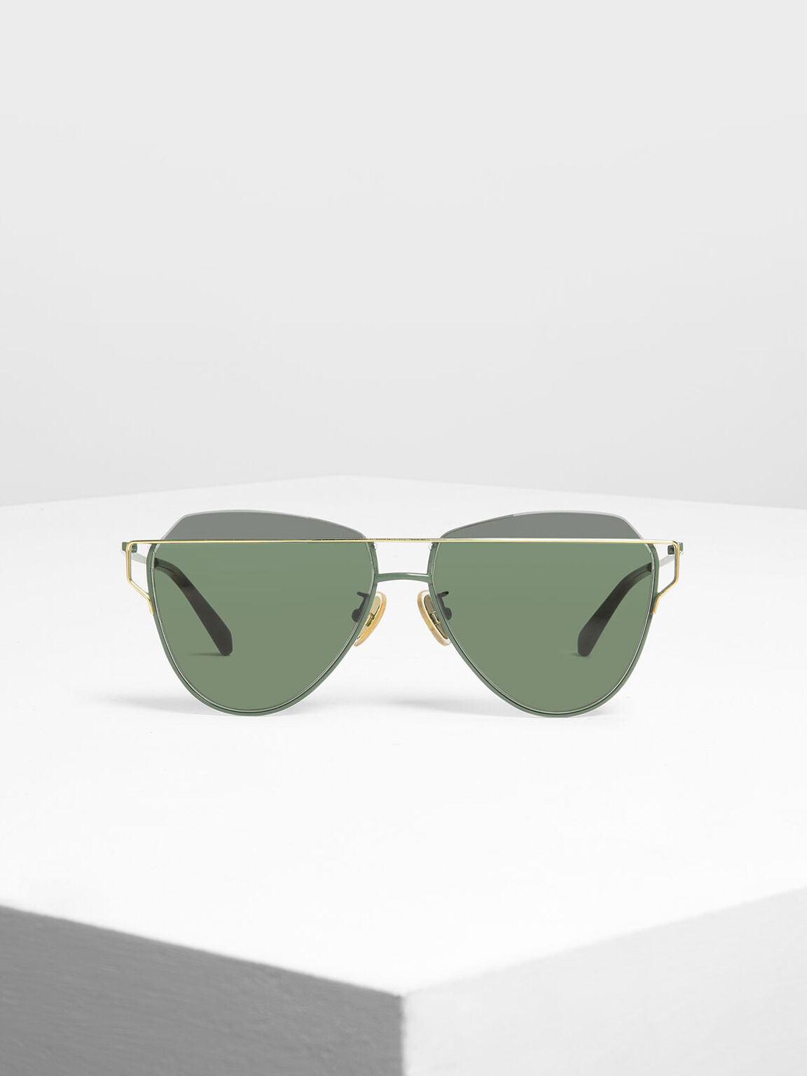 Wire Frame Aviator Sunglasses, Olive, hi-res