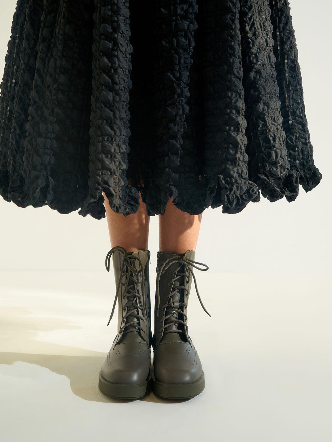 綁帶厚底短靴, 軍綠色, hi-res