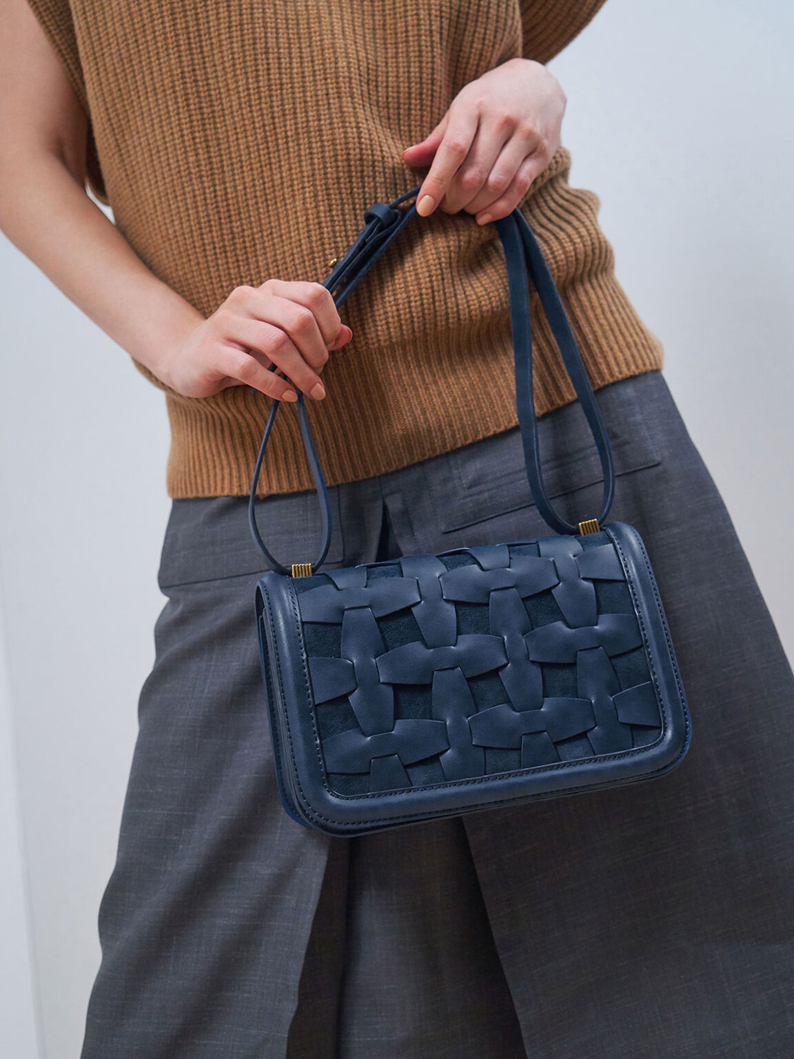 Weave Detail Shoulder Bag, Blue, hi-res