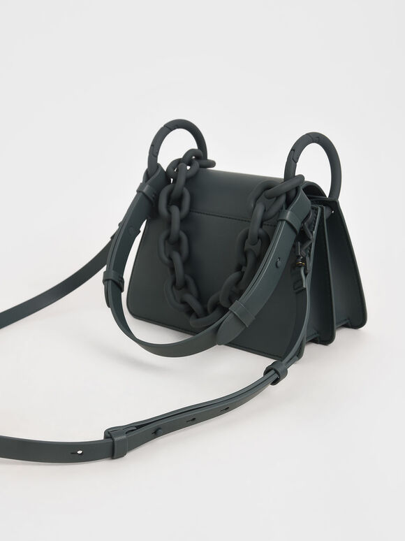 Circular Flap Trapeze Bag, Teal, hi-res