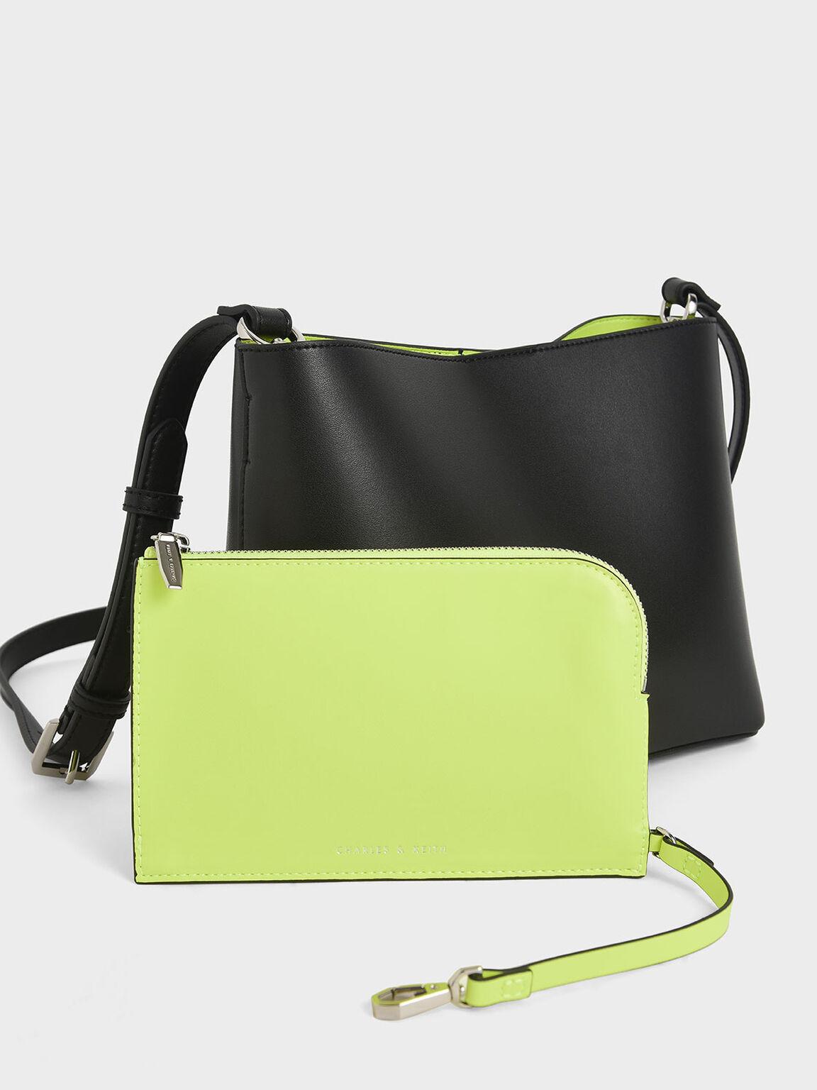 Acrylic Handle Bucket Bag, Black, hi-res