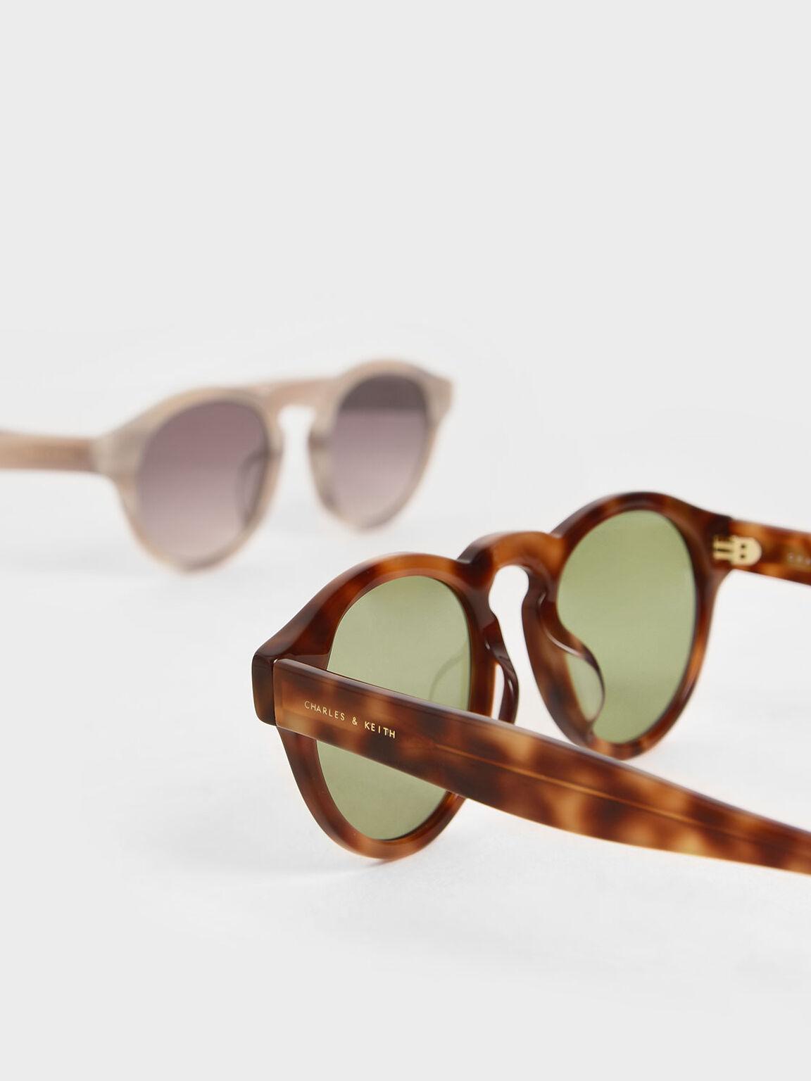 Tortoiseshell Round Acetate Sunglasses, T. Shell, hi-res