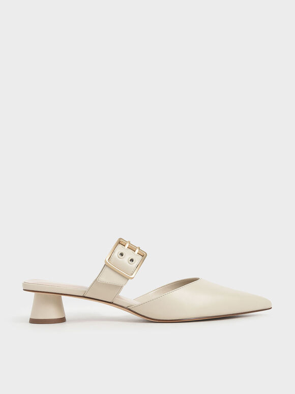 Grommet Buckle Mules, Chalk, hi-res