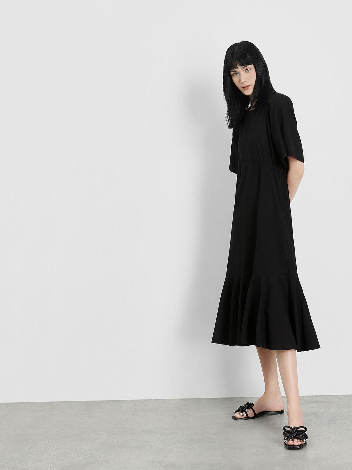 Double Bow Slide Sandals, Black, hi-res