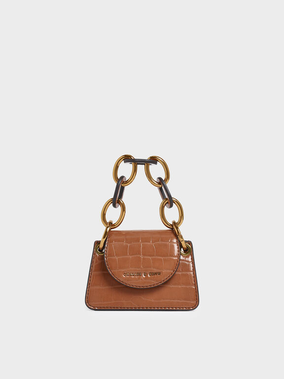 Croc-Effect Chunky Chain Handle Mini Bag, Tan