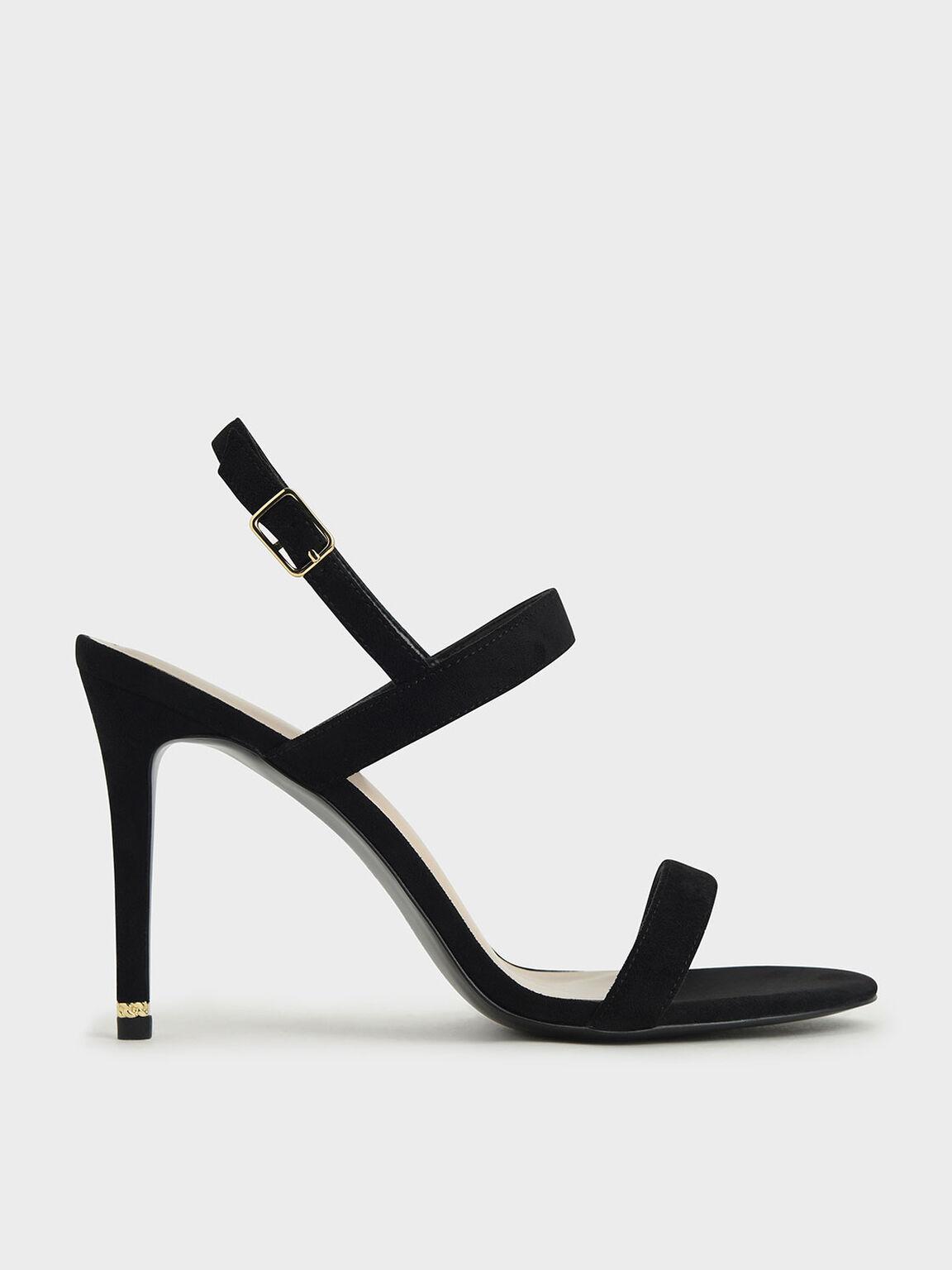Textured Ankle Strap Stiletto Sandals, Black, hi-res