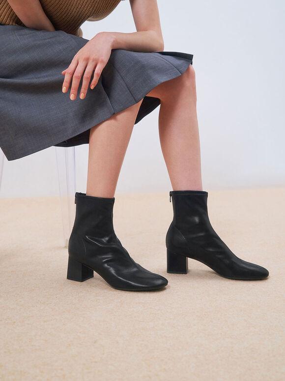 Stitch-Trim Block Heel Ankle Boots, Black, hi-res
