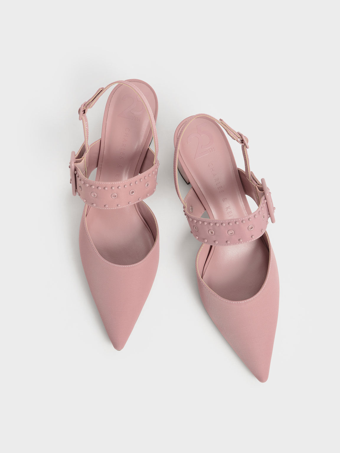 The Anniversary Series: Sepphe Recycled Nylon Grommet Slingback Pumps, Pink, hi-res