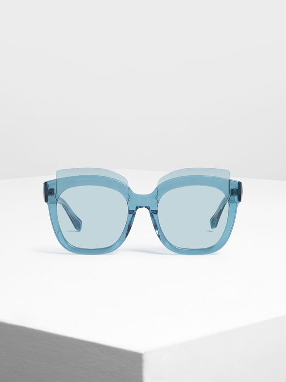Oversized Lens Sunglasses, Blue, hi-res