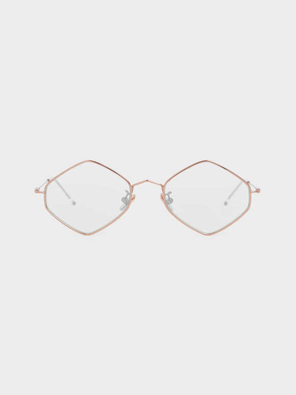 Thin Metal Frame Geometric Sunglasses, Pink, hi-res