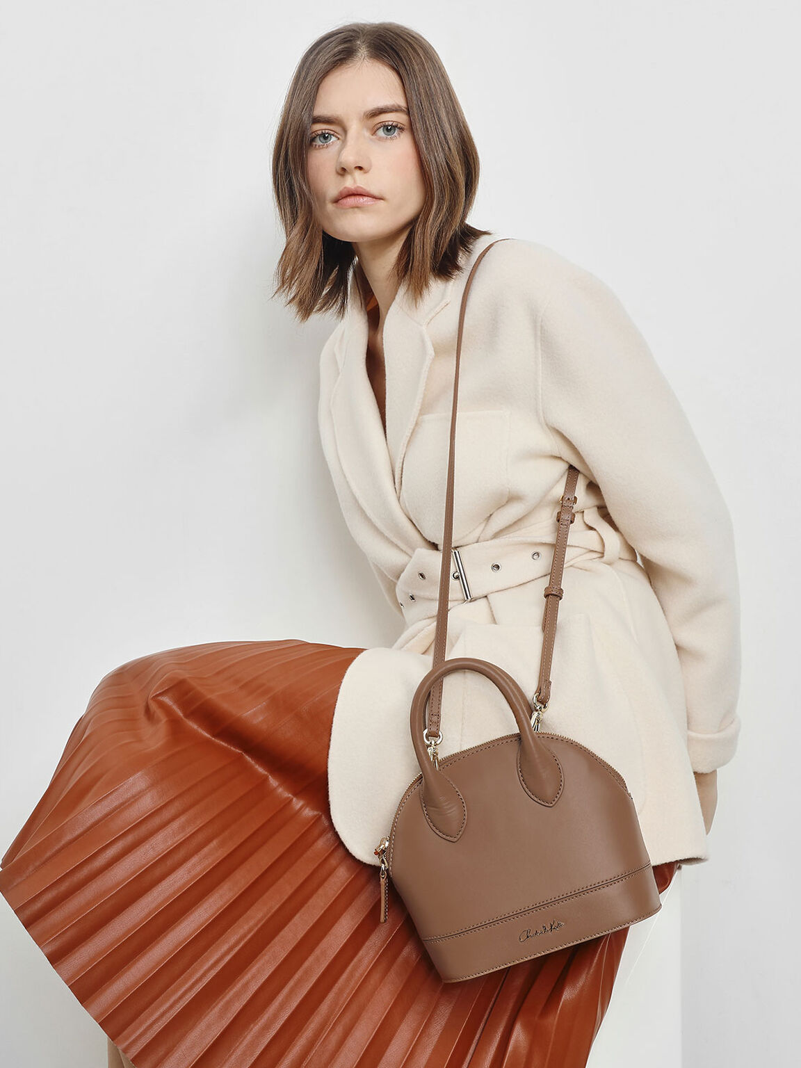 Leather Dome Top Handle Bag, Brown, hi-res