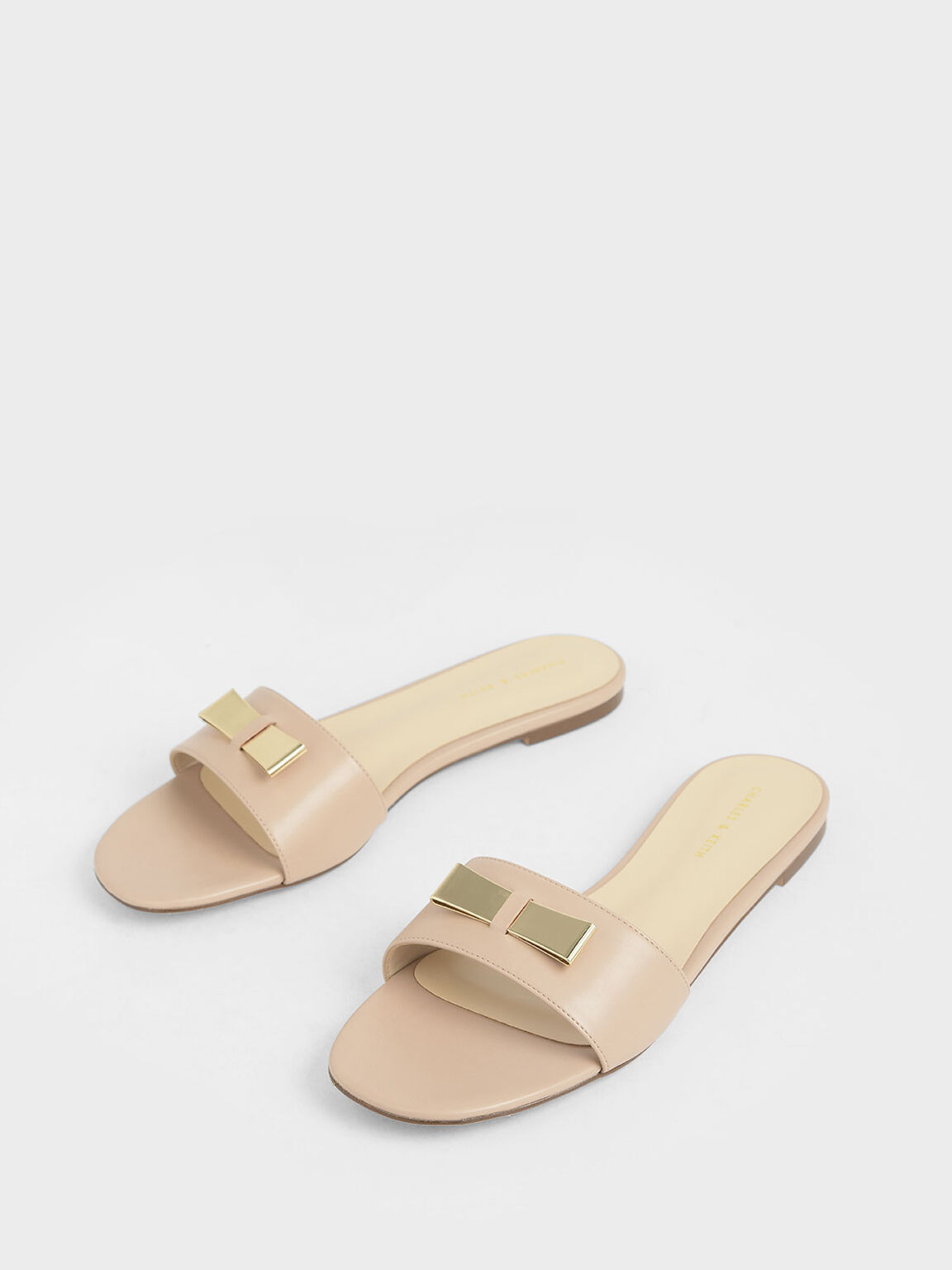 Metal Bow Slide Sandals, Nude, hi-res