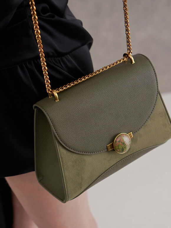 Textured Embellished Push-Lock Bag, Sage Green, hi-res