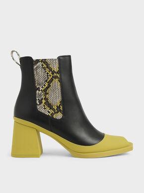 Snake Print Chelsea Boots, Multi
