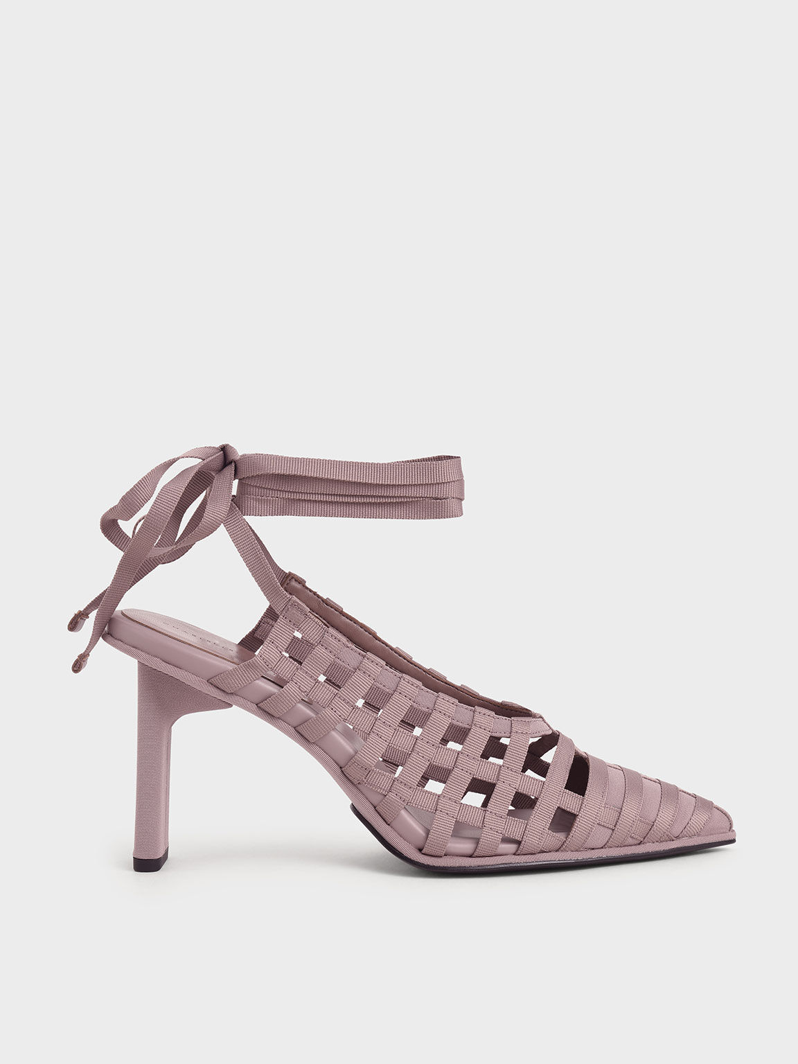 Grosgrain Tie-Around Caged Court Shoes, Purple, hi-res