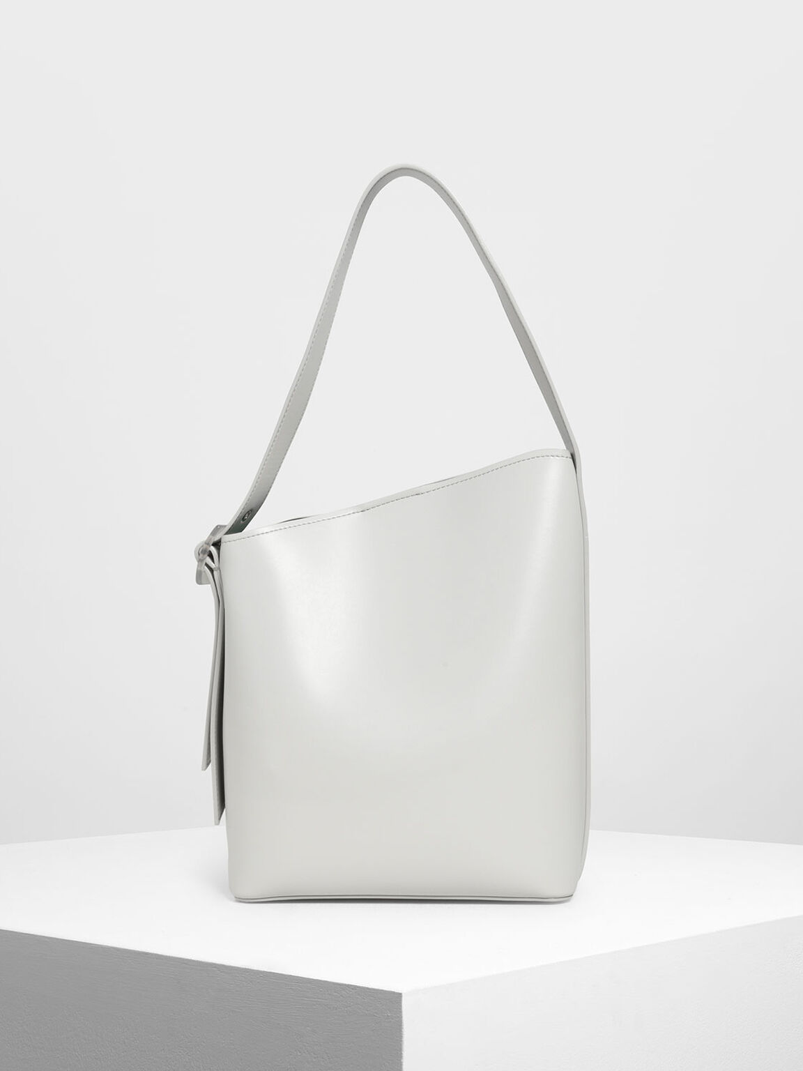 Asymmetrical Bucket Bag, Chalk, hi-res