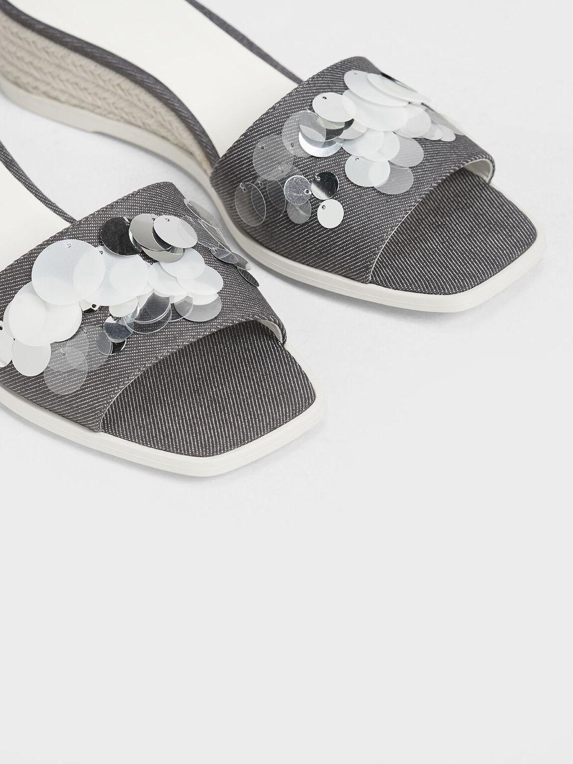Sequin Embellished Espadrille Wedges, Light Grey, hi-res