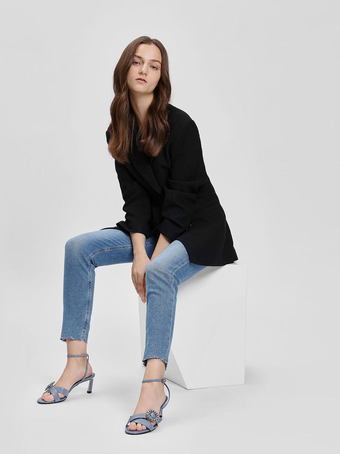 Crushed Gem Effect Buckle Leather Sandals, Light Blue, hi-res