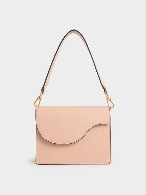 Angular Flap Shoulder Bag, Pink, hi-res