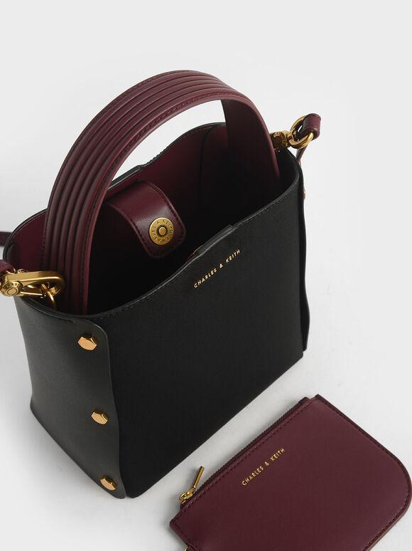 Textured Bucket Bag, Black, hi-res