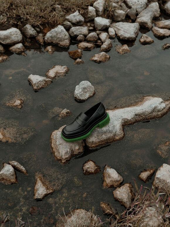 厚底便士樂福鞋, 黑色, hi-res
